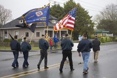 VFW Color Guard Marching on a. Foggy, Wet Day Stock Photos