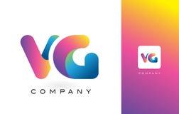 VG de Mooie Kleuren van Logo Letter With Rainbow Vibrant Kleurrijk t Royalty-vrije Stock Afbeelding
