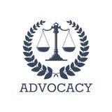 Våg för rättvisa för försvarvektorsymbol, lagerkrans Arkivfoton