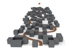 Väg i komplex labyrint att arkivera målet Arkivfoton