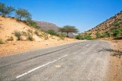 Väg med asfalt i ökenområde Arkivfoto