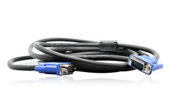 VGA cable. Blue + black VGA cable on white background Royalty Free Stock Image