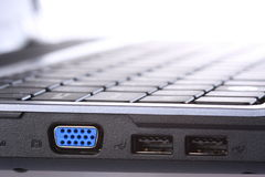 VGA and USB ports on side of laptop computer Stock Image