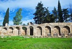 Vägg av den Daphni kloster Grekland Arkivbilder
