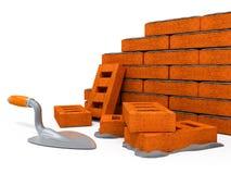 vägg för tegelstenkonstruktionshus Arkivfoton