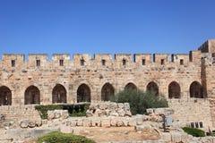 Väggar av tornet av David i Jerusalem Arkivbilder