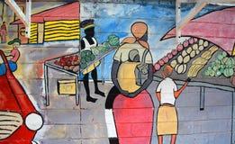 Väggmålningen berättar berättelsen av Swakopmund Royaltyfria Bilder