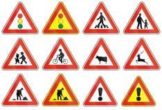 Vägmärken som används i Slovakien Arkivbilder