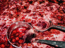 Vgoryachy forest strawberry jam. With a spoon and a scoop Royalty Free Stock Image