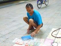 Vägrenstalls, rörelsehindrade gatuförsäljare Royaltyfria Bilder
