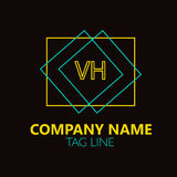 VH Letter Logo Design. Sign, symbol, element isolated on black background Royalty Free Stock Photo