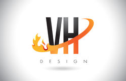VH V H Letter Logo with Fire Flames Design and Orange Swoosh. VH V H Letter Logo Design with Fire Flames and Orange Swoosh Vector Illustration Stock Image