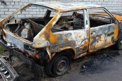 Véhicule brûlé Photos libres de droits