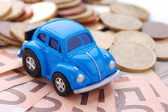 Véhicule et argent Photo stock