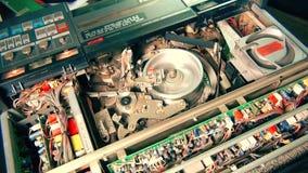 Профессиональный играть стопа магнитофона телевидения VHS сток-видео