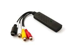 VHS audio video do adaptador da captação do USB à tevê do hdd de DVD fotografia de stock