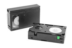 VHS-C video cassettes on white background Stock Images