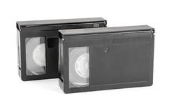 VHS-C video cassettes on white background Royalty Free Stock Image