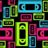 Vhs cassette naadloos patroon Stock Afbeeldingen