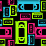 Vhs cassette seamless pattern Stock Images