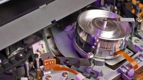 VHS recorder tape transport mechanism stock video