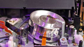 VHS recorder tape transport mechanism stock footage
