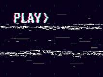 VHS-Störschub Spieleffekthintergrund Retro- Play-backkonzept Pixelaufschrift mit 8 Bits GlitchedLeitungsgeräusch Kein Signal Stockbilder