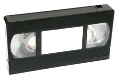 VHS Tape. An old black VHS tape on white background stock photo