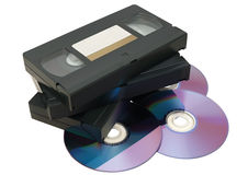 VHS tape and DVD. Illustration of VHS tape and DVD  isolated on a white background Royalty Free Stock Images