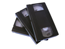 VHS tapes. Retro VHS video tapes, isolated in white royalty free stock photo