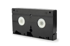 VHS tapes on white. Old VHS tapes, isolated on white background Royalty Free Stock Photos