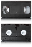 VHS video tape | Isolated. Outdated tape for recording video information. Isolated over white stock image