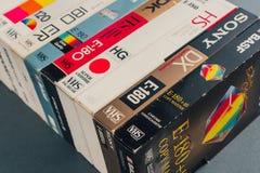 VHS videokassetter, retro video teknologi Royaltyfria Bilder
