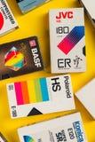 VHS videokassetter, retro video teknologi Arkivfoto