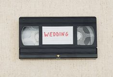 Vhs videotape. With wedding label Stock Photos