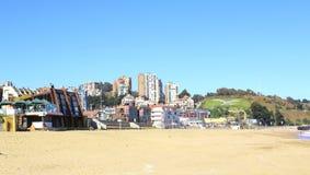 Viña Del Mącący, Reñaca, Valparaiso i Chile, - Plażowy widok Fotografia Royalty Free