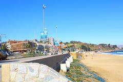 Viña Del Mar, Reñaca et Valparaiso - le Chili Vue de plage images libres de droits