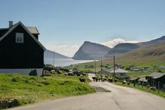 Viðareiði settlement on the Viðoy island of the Faroe Islands. Beautiful landscape view to the Viðareiði settlement on the Viðoy the northern royalty free stock photo