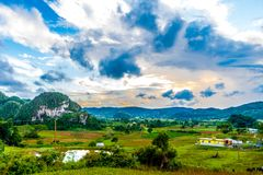 Viñales valley view in Cuba. Unreal nature with lakes, mountain, trees, wildlife. Gorgeus sky. Viñales valley view in Cuba. Unreal nature wih lakes, mountain Royalty Free Stock Image