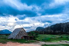 Viñales valley view in Cuba. Unreal nature with lakes, mountain, trees, wildlife. Gorgeus sky. Viñales valley view in Cuba. Unreal nature wih lakes, mountain Royalty Free Stock Photography
