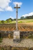 Viñedo en Borgoña, Francia, con una cruz de piedra en su borde Foto de archivo