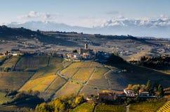 Viñedos de Langhe Piamonte, Italia Imagen de archivo