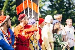 VI节日的战士参加者中世纪 图库摄影