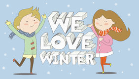 Vi älskar pojken för vintern, och flickan tycker om snöfall Royaltyfri Bild
