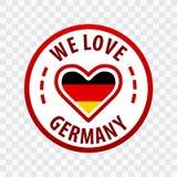 Vi älskar Tysklandemblemet Isolerat på genomskinlig bakgrund royaltyfri illustrationer