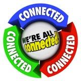 Vi är alla den förbindelsecirkeln för anslutningar för gemenskapsamhällepilen Arkivfoto