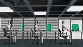 Vi är robotarna, robotar som arbetar i ett kontor royaltyfri illustrationer