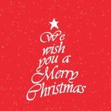 Vi önskar dig en text för glad jul Kalligrafitext för hälsningkort på röd bakgrund med snö stock illustrationer