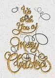 Vi önskar dig glad jul det guld- blänka hälsningkortet, kalligrafiuttryck Märka design Isolerat på vit Royaltyfri Foto