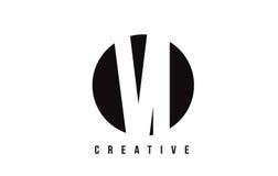 VI дизайн логотипа письма белизны V i с предпосылкой круга Стоковая Фотография